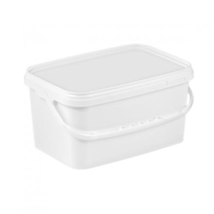 5L Rectangular White Bucket with Lids